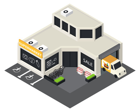 shopping icon: Vector isometric shopping mall building icon. Supermarket 3d model.