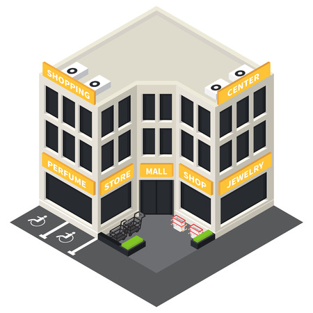mall: Vector isometric shopping mall building icon. Store 3d model.