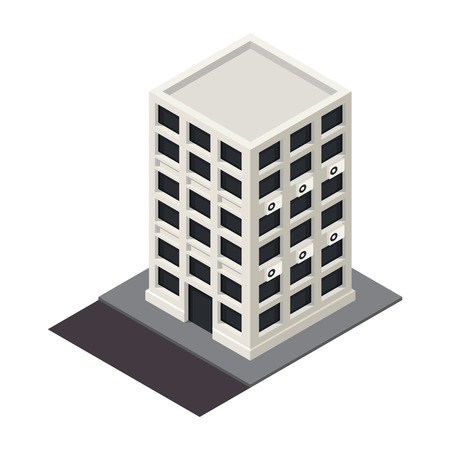 tower block: Vector isometric building icon.  3d city map elements