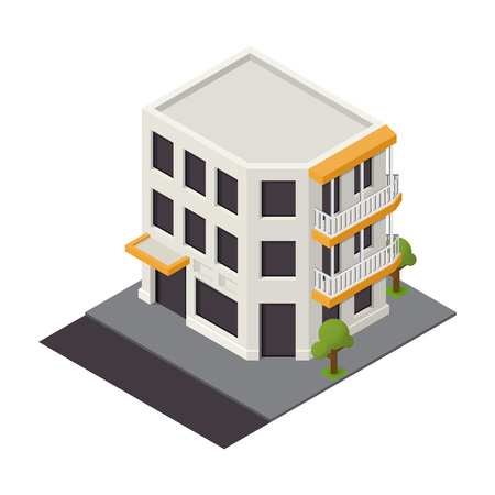apartment buildings: Vector isometric building icon.  3d city map elements
