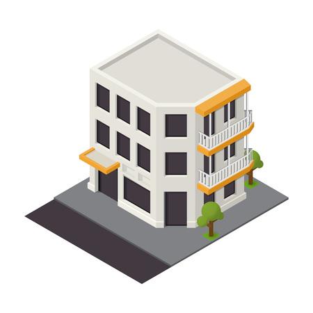 Vector isometric building icon. 3d city map elements Vektoros illusztráció