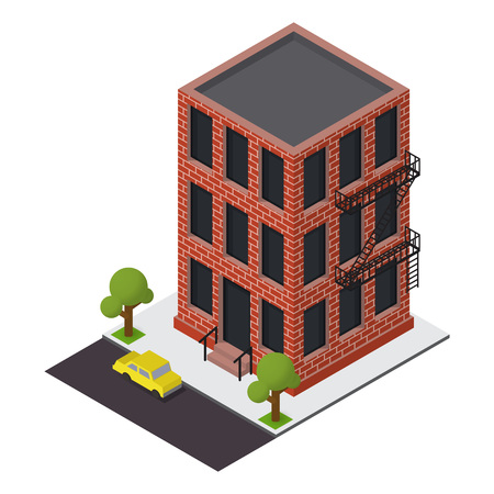 escape plan: Vector isometric building icon.  3d city map elements