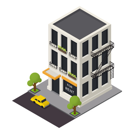 view of a staircase in a shop: Vector isometric building icon.  3d city map elements