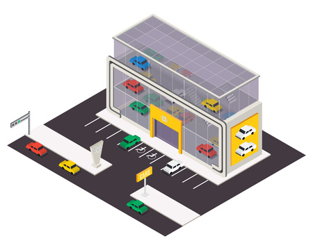 Vector isometric car store building.  3d city map elements