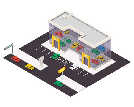 Vector isometric car store building.  3d city map elements