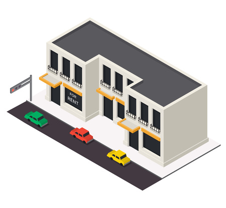 commercial real estate: Vector isometric building icon.  3d city map elements