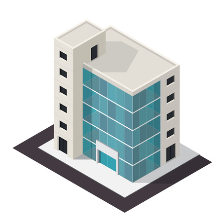 business center: Vector isometric business center building icon. Store 3d model.