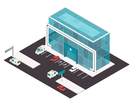 commercials: Vector isometric hospital building icon with emergency car and helipad on the roof.