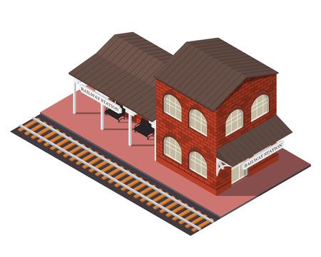 벡터 아이소 메트릭 기차역. 3D 건물 아이콘입니다. 도시지도 요소 일러스트