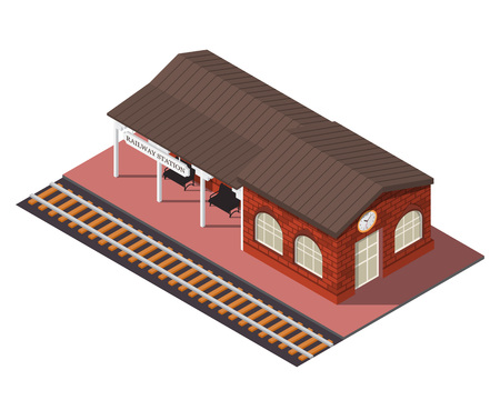 railway: Vector isometric railway station. 3d building icon. City map elements Illustration