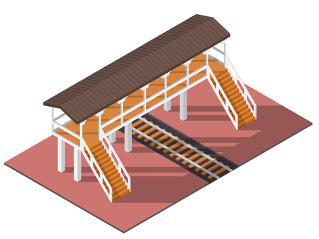 Vector isometric railway overpass. 3d building icon. City map elements Çizim