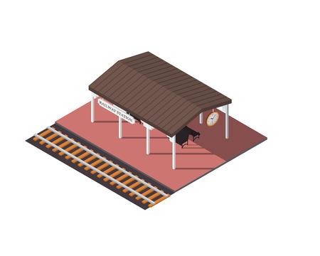 Vector isométrica estación de tren. icono 3d edificio. elementos del mapa de la ciudad