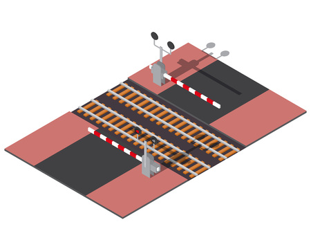 railway: Isometric railway barriers. 3d building icon. City map elements