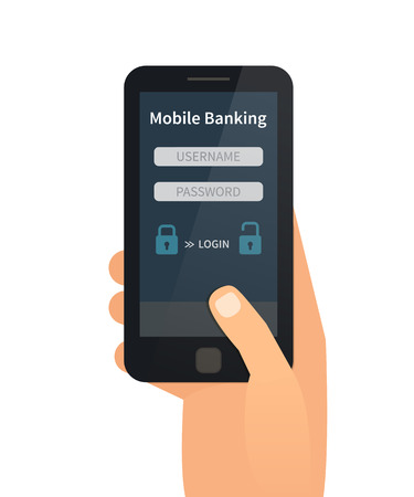 checking accounts: Mobile bank interface. Hand holding mobile. Flat vector