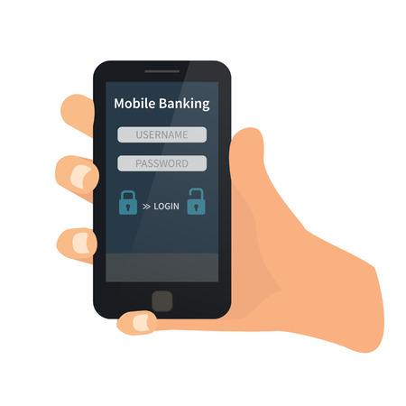 cuenta bancaria: interfaz de banco móvil. Mano que sostiene móvil. vector plana