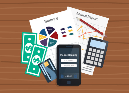 checking accounts: Mobile bank concept. Personal account and statements. Balance and payments. Flat illustration