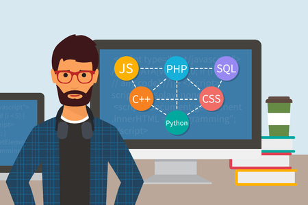courses: Programming code. Web software developer. Programmer and monitors with computer languages.