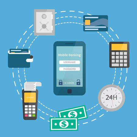 Concept de banque mobile. Paiements sécurisés en ligne. Illustration plate Vecteurs