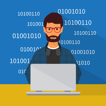 Programmer working at laptop. Flat character illustration