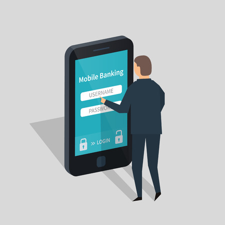 checking accounts: Mobile banking and mobile payment. Flat illustration.