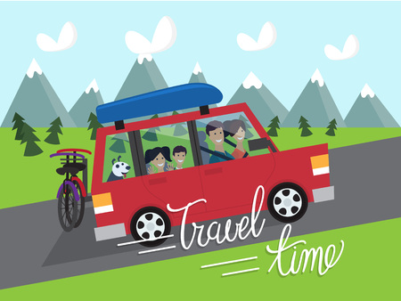 family trip: Summer vacation. Travel time. Family trip by car. illustration