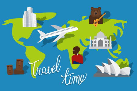 moai: Vacation plan. Travel time. Tourism places and landmarks. illustration Illustration