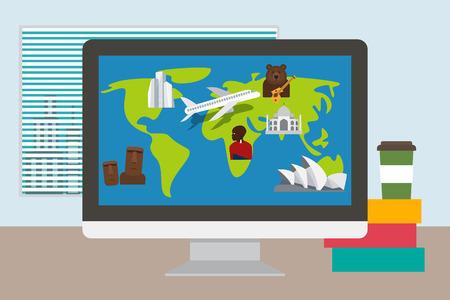 masai: Vacation plan. Travel time. Tourism places and landmarks. illustration Illustration