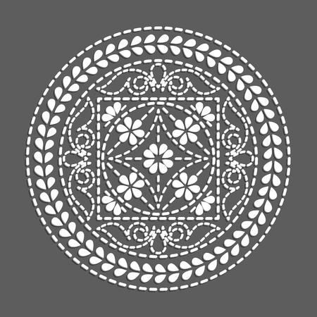 black art: Ethnic round element. flower mandala, black white illustration Illustration