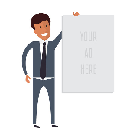 commercial sign: Business man holding banner with place for advertisement. Flat vector illustration. Illustration