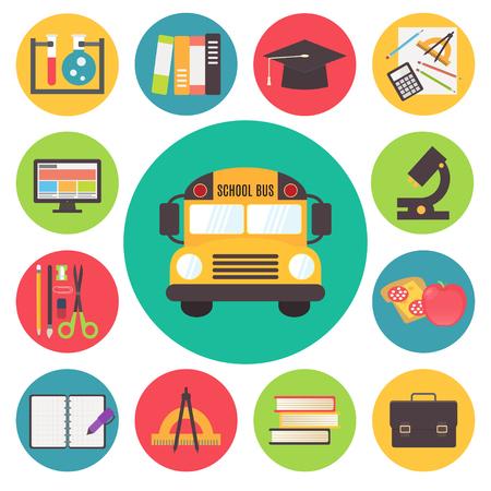 Back to school elements, vector icons set, flat design illustration. Illustration