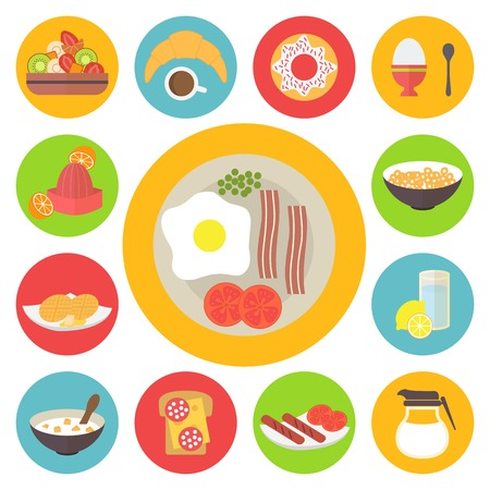 Morning breakfast icons set. Sunny side up eggs, drinks and different meal. Flat style vector Çizim
