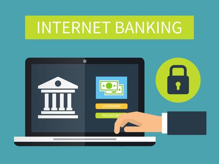 bank account: Internet banking online transaction. Flat vector illustration.
