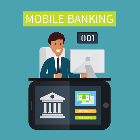 mobile banking: Mobile banking customer service.. Flat vector illustration Illustration