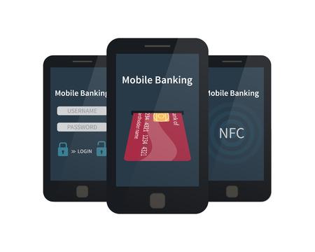 banco dinero: La banca móvil, pagos en línea. ilustración vectorial plana Vectores
