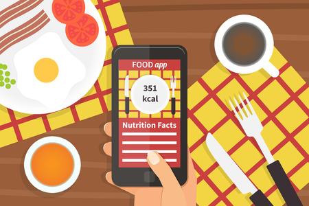스마트 폰에 다이어트 식품 응용 프로그램입니다. 칼로리 카운터 응용 프로그램. 벡터 일러스트 레이 션