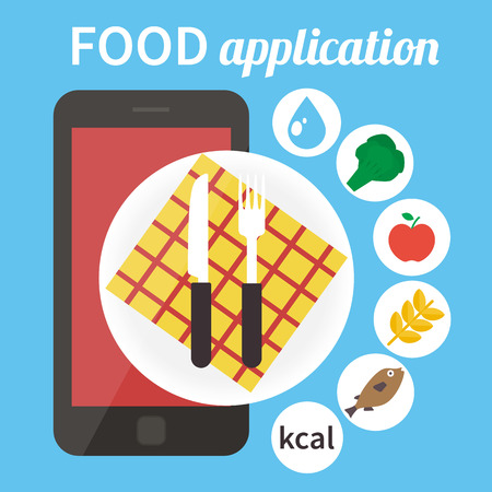 Calorie counter app. Mobile food app. Vector illustration Ilustração
