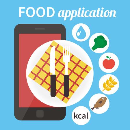 contre l'application de calories. app alimentaire Mobile. Vector illustration Vecteurs
