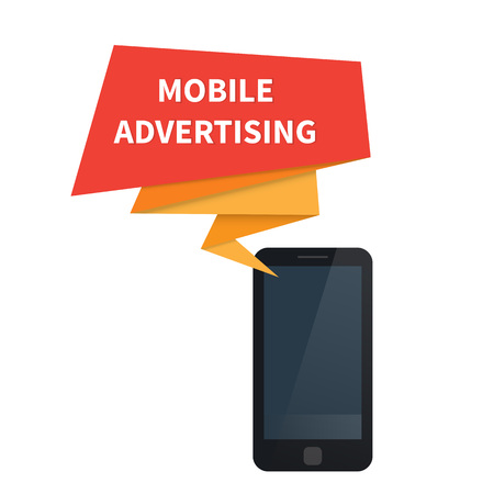 Mobile marketing. Ad on smartphone. Vector illustration
