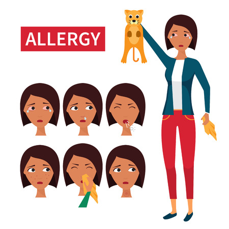allergic: Allergy symptoms. Allergic reaction on domestic animals. Cats allergen. Vector illustration.