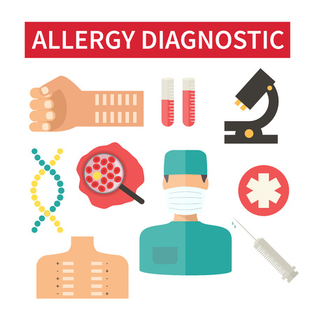 looking for: Allergy diagnostic. Looking for allergen. Clinic laboratory tests. Vector illustration