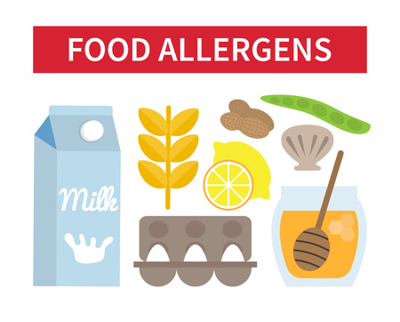 allergies: Food allergies. Products that contains allergen. Vector illustration Illustration