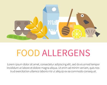 allergic foods: Food allergens banner template. List of allergic items. Vector illustration.