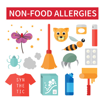 allergic reactions: Non-food allergies. Allergic reaction on dust and cleaners. Vector illustration
