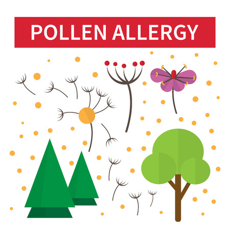 allergies: Pollen allergies. Allergy reaction on flowers and tree blossom. Vector illustration