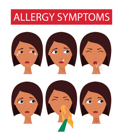 Allergy and cold symptoms. Allergic sick woman faces. Vector illustration.