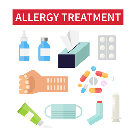 reaction: Allergy treatment. Allergic reaction and medical care. Searching allergen. Vector illustration Illustration