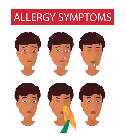 symptoms: Allergy symptoms. Allergic man faces Vector illustration.