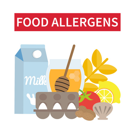 Food allergens. Food products that may cause allergy. Menu for allergic people. Vector illustration. Иллюстрация