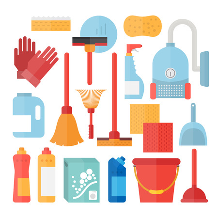dusting: Cleaning service supplies. Household equipment for clean house Illustration