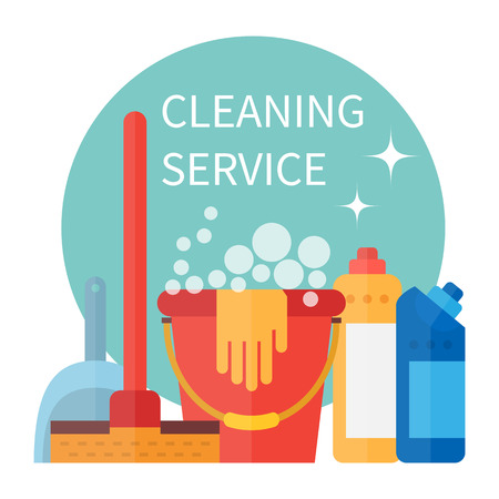 Cleaning service poster. Housekeeping tools. illustration